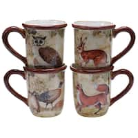 Certified International Rustic Nature 16-ounce Mugs (Set of 4) Assorted Designs