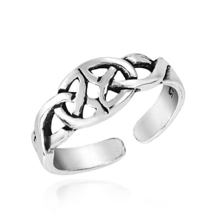 Mirrored Celtic Trinity Knot Sterling Silver Toe Ring (Thailand)