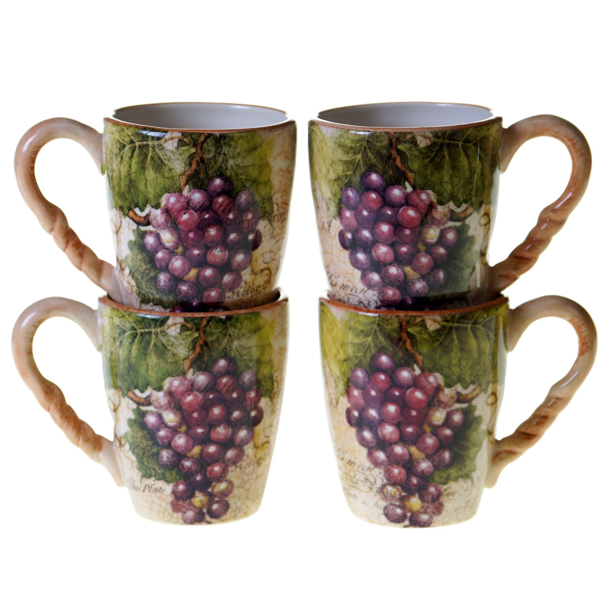 Certified Intl Sanctuary Wine 18-ounce Mugs (Set of 4) (M...