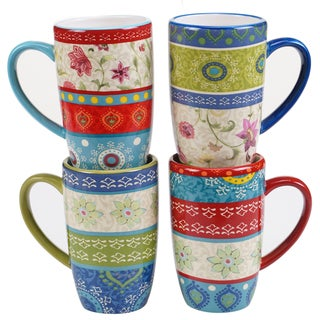 Certified International Anabelle 14-ounce Mugs (Set of 4) Assorted Designs