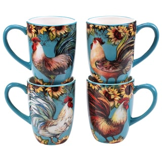 Certified International Sunflower Rooster 20-ounce Mugs (Set of 4) Assorted Designs