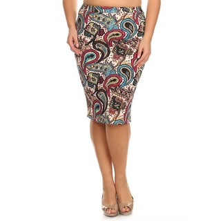 MOA Collection Plus Size Allover Paisley Pencil Skirt