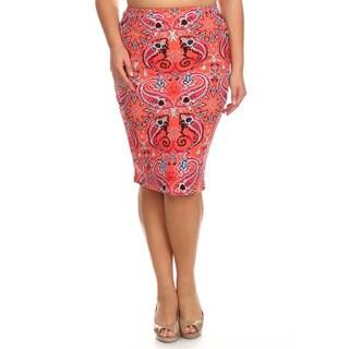 MOA Collection Plus Size Paisley Pencil Skirt