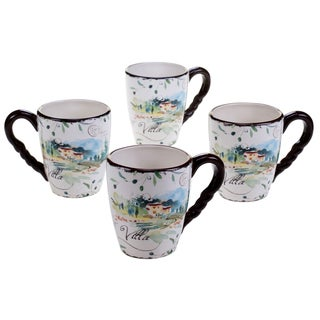 Certified International Villa 20-ounce Mugs (Set of 4) Assorted Designs