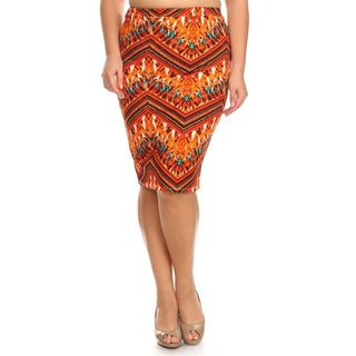 MOA Collection Plus Size Sublimation Print Pencil Skirt