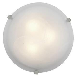 Access Lighting Mona 3-light 16 inch Brushed Steel Flush Mount, Alabaster