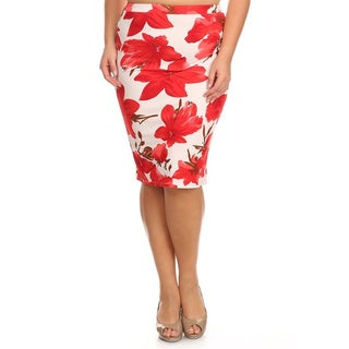 MOA Collection Plus Size Red Floral Pencil Skirt