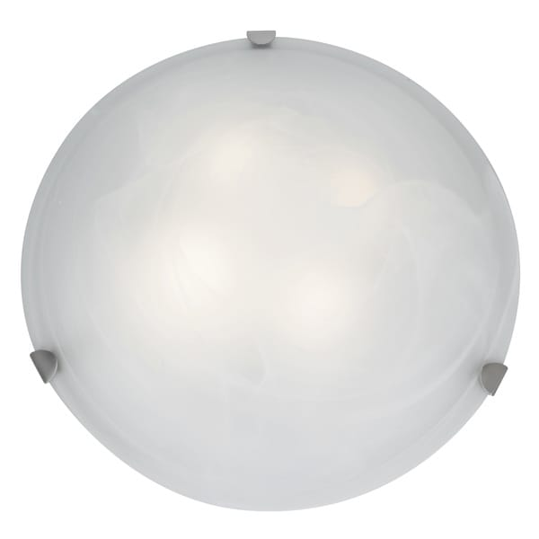 Access Lighting Mona 3-light 20 inch Brushed Steel Flush Mount, Alabaster