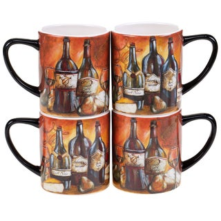 Certified International Private Reserve 15-ounce Mugs (Set of 4) 2 Assorted Designs