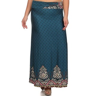 MOA Collection Women's Plus Size Border Print Maxi Skirt