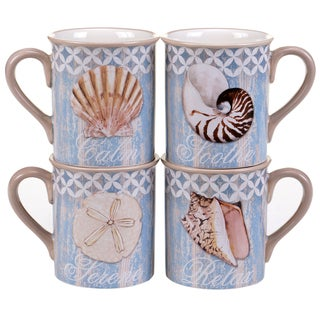 Certified International Spa Shells 16-ounce Mugs (Set of 4) Assorted Designs