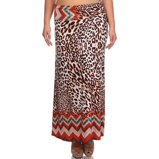 MOA Collection Women's Plus Size Leopard Maxi Skirt