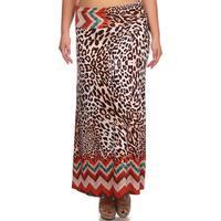 MOA Collection Women's Plus Size Leopard Maxi Skirt