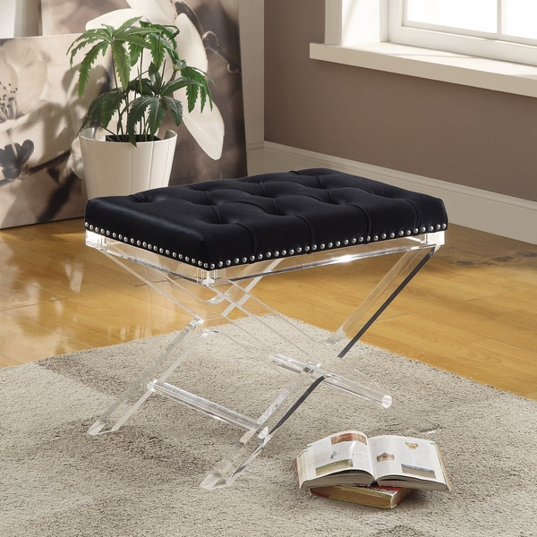 Evoque Velvet Bench With Acrylic Legs Free Shipping