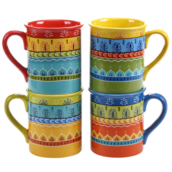 c2d0deaab8d Shop Certified International Valencia 16-ounce Mugs (Set of 4) Assorted  Designs - Free Shipping On Orders Over $45 - Overstock - 11445994