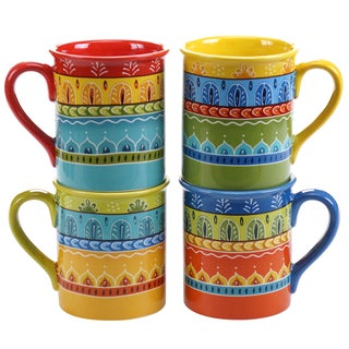Certified International Valencia 16-ounce Mugs (Set of 4) Assorted Designs
