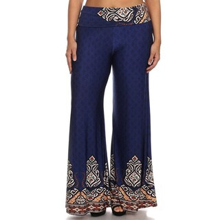 MOA Collection Women's Plus Size Wide-Leg Pants