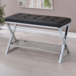 Furniture of America Stelly Contemporary Faux Leather Accent Bench with Shoe Rack