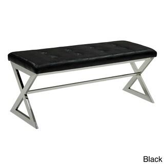 Furniture of America Odellin Contemporary Crocodile Skin Faux Leather Accent Bench