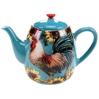 Certified International Sunflower Rooster Teapot 40-ounce