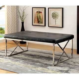 Furniture of America Nara Contemporary Tufted Leatherette Accent Bench