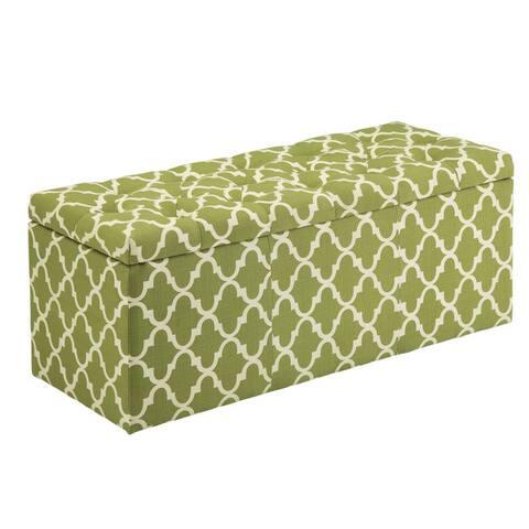 Furniture of America Monterey Quatrefoil Pattern Tufted Lift-top Storage Bench