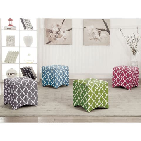 Furniture of America Monterey I Quatrefoil Pattern Tufted Ottoman