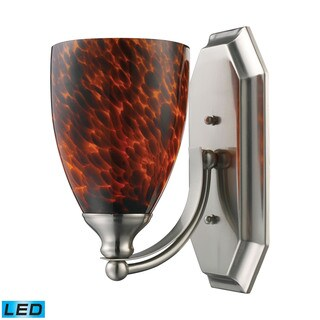 Elk Bath and Spa 1-light LED Vanity in Satin Nickel and Espresso Glass