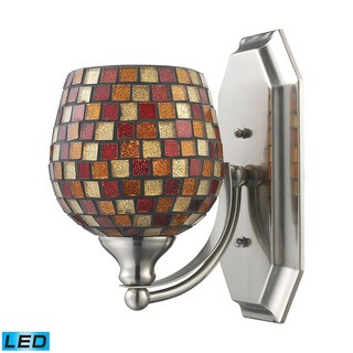 Elk Bath and Spa 1-light LED Vanity in Satin Nickel and Multi Fusion Glass