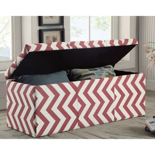 Furniture of America Monterey Chevron Pattern Tufted Lift-top Storage Bench