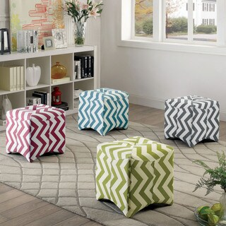 Furniture of America Monterey II Chevron Pattern Tufted Ottoman