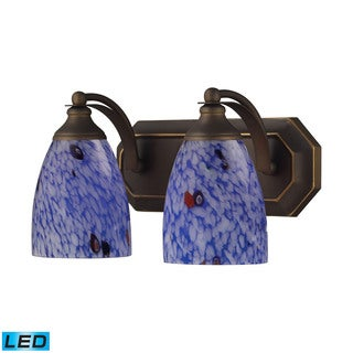 Elk Bath and Spa 2-light LED Vanity in Aged Bronze and Starburst Blue Glass