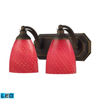 Elk Bath and Spa 2-light LED Vanity in Aged Bronze and Scarlet Red Glass