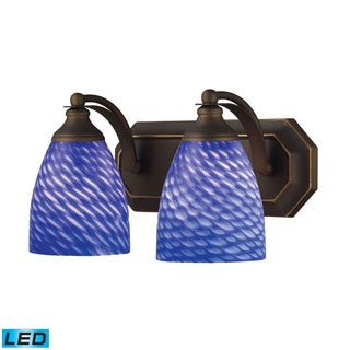 Elk Bath and Spa 2-light LED Vanity in Aged Bronze and Sapphire Glass
