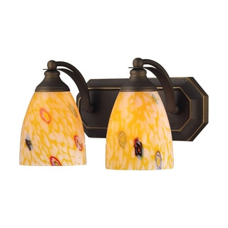 Elk Bath and Spa 2-light Vanity in Aged Bronze and Yellow Glass
