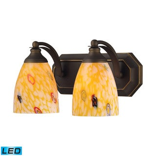 Elk Bath and Spa 2-light LED Vanity in Aged Bronze and Yellow Glass