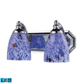 Elk Bath and Spa 2-light LED Vanity in Polished Chrome and Starburst Blue Glass