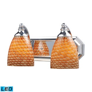 Elk Bath and Spa 2-light LED Vanity in Polished Chrome and Cocoa Glass