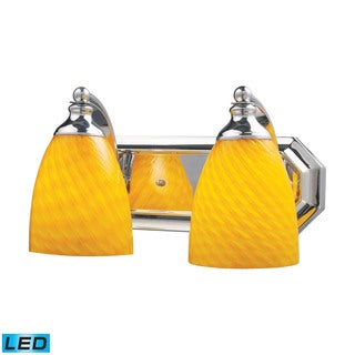 Elk Bath and Spa 2-light LED Vanity in Polished Chrome and Canary Glass