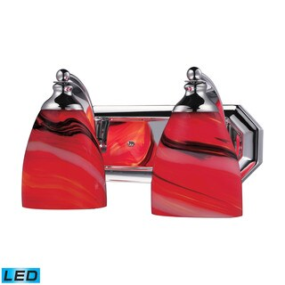 Elk Bath and Spa 2-light LED Vanity in Polished Chrome and Candy Glass