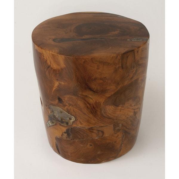 Shop Teak Wood Resin Foot Stool Brown Free Shipping