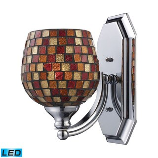 Elk Bath and Spa 1-light LED Vanity in Polished Chrome and Multi Fusion Glass