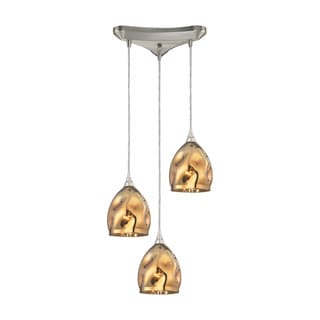 Elk Niche 3-light Pendant in Satin Nickel and Polished Gold Glass