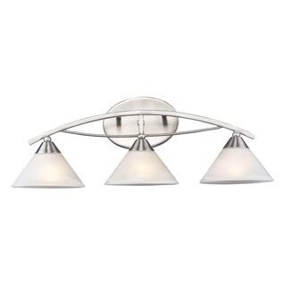 Elk Elysburg 3-light Vanity in Satin Nickel and White Glass