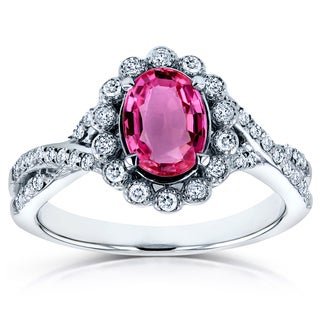 Annello by Kobelli 14k White Gold Oval Pink Sapphire and 1/4ct TDW Diamond Vintage Crossover Ring (H-I, I1-I2)