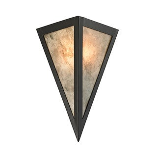 Elk Mica 1-light Wall Sconce in Oil Rubbed Bronze and Marble Printed Mica