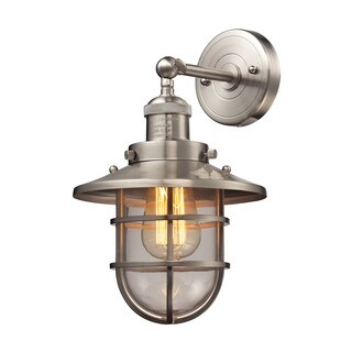 Elk Seaport 1-light Sconce in Satin Nickel and Clear Glass