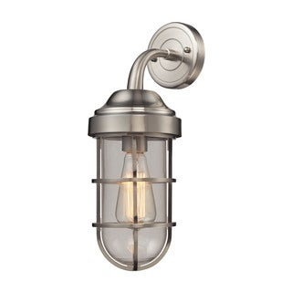 Elk Seaport 1-light Wall Sconce in Satin Nickel and Clear Glass