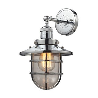 Elk Seaport 1-light Sconce in Polished Chrome and Clear Glass