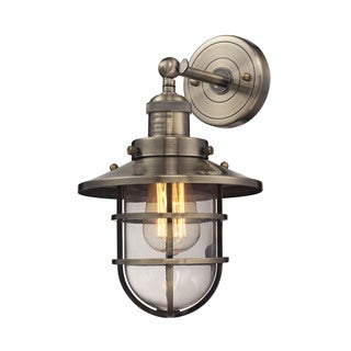 Elk Seaport 1-light Sconce in Antique Brass and Clear Glass